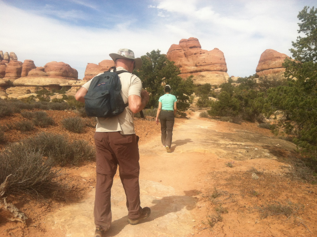 Mom and Dad walking Canyonlands